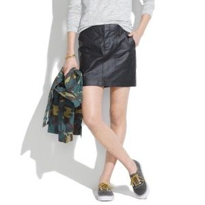 NWOT Madewell Walker Black Waxed Mini Skirt Sz 2